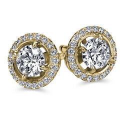 Real Halo Diamond Stud Earrings Yellow Gold 1.72 Carat I1 D Cttw Ct 30452231