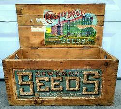 Antique Vintage Crosman Bros Wood Seed Box Crate Chest Sign Display Rochester Ny