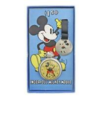 Mickey Mouse Pocket Watch 1934and039s Base Metal Chrome Plating Rare With Box