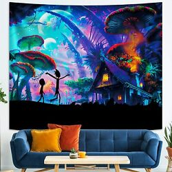 Rick and Morty Tapestry Psychedelic Mushroom Wall Tapestry for Party Bedroom