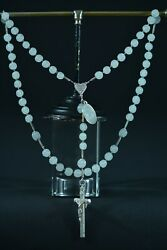Elegant French Antique Rosary Opalin Glass And Sterling Silver 1875 St Scholastica