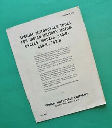 Original 1930and039s - 1940and039s Indian Scout 45 - 30.50 Motorcycle Dealer Tool Manual
