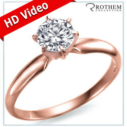 1.00 Ct Round Solitaire Diamond Engagement Ring F I2 18k Rose Gold 57751463