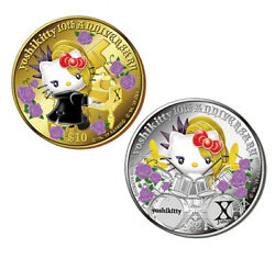 Yoshikitty 10th Anniversary Proof Coin With Box Gold Silver Hello Kitty Limited