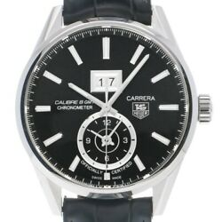 Tag Heuer Carrera War5010.fc6266 Automatic Black Silver Ss Leather Round Men 171