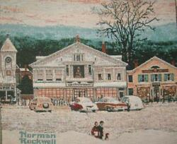 Norman Rockwell Home For Christmas Jacquard Tapestry fabric Panel 18quot; square NEW