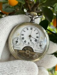 Hebdomas 8 Days Pocket Watch Manual Day Date Mens 51mm Swiss Made Just Serviced