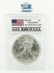 2019-w Burnished Silver Eagle Pcgs Sp70 W/ Patriotic Made In Usa Label