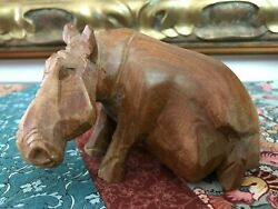 Vintage African Wooden Hand Carved Hippo Figure Original Solid Wood 5x3 Inch