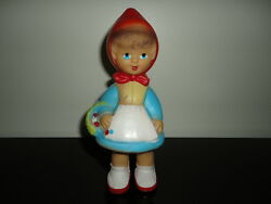 Little Red Riding Hood Doll Vintage Rubber Squeaker Toy 7.5 Art 150 Works 100