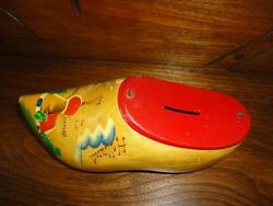 Vintage Coin Bank Tin Metal Pine Wood Clog Holland Hand Painted W Hanger