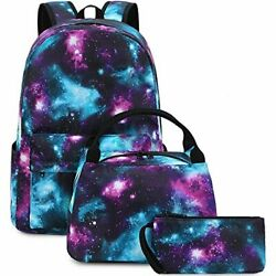 School Backpacks for Teen Girls Galaxy Backpack and Lunchbox Set for Kids Laptop $112.48
