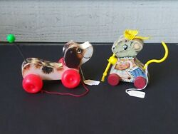 Merry Mousewife Vintage Fisher Price Pull Toy And Little Snoopy Great Shape