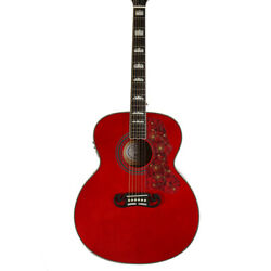 Red Jumbo 6 Strings Electric Acoustic Guitar Solid Spruce Top Real Abalone Inlay