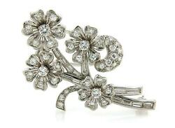 Vintage Diamond And Solid Platinum Spinning Floral Spring Brooch Pin