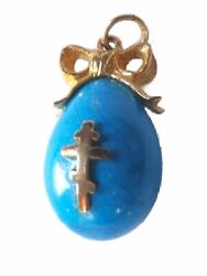 Antique Russian Blue Egg Pendant/ Necklace- Faberge Like With Cross