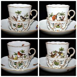 Herend Rothschild Bird W/jewelry Htf Set/4 Trembleuse Cups And Saucers 713