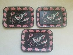 Rare-vintage Small Black Tin Tip Tray-pink Elephants And Cocktail Glasses Set Of 3