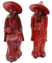 Vintage Arnels Pottery Asian Wise Men Red Ceramic Figurines 9 Tall Pair