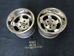 Vintage 15x10 Pair Polished Us Indy Style Mags Nice 5 On 4 3/4 Chevy Van Hotrods