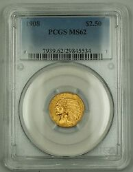 1908 2.50 Gold Quarter Eagle Coin Pcgs Ms-62 Better Coin