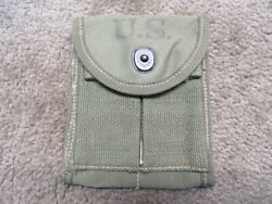 Us Ww2 M1 Carbine Magazine Stock Pouch Od Green Canvas 1943 Avery Stains