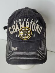 Nhl 2011 Stanley Cup Finals Champions Boston Bruins Hat Cap Reebok Face Off Snap