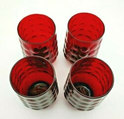 Vintage 1960's Anchor Hocking Royal Ruby Red Bubble Glass Tumblers Set Of Four