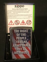 Zippo 28641 Flag Right Of People To Bear Arms Shall Not Infringed Sealed Lighter