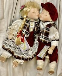 Vintage Cathy Collection Porcelain Kissing Dolls In A Swing Robert And Judy