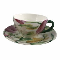 Gien France Faience Volupte Breakfast Tea Coffee Cup And Saucer Pottery China Set