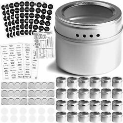 24 Magnetic Spice Tins With Wall-plate Spice Racks And 2 Types Of Spice Labels...
