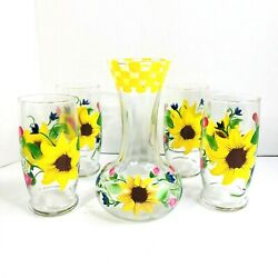 Vintage Libbey Hand-painted Yellow Sunflower Glasses Tumblers With Decanter 5pcs