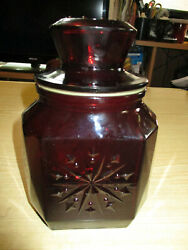 Wheaton Nj Ruby Red Glass Canister / Candy Jar With Lid 7 1/4 Tall - Vintage
