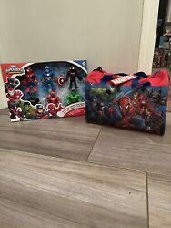 Marvel Super Hero Adventures 5in Action Figure Toy 6-pack And Duffle/overnight Bag