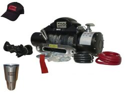 Engo 97-12000s Electric Winch 12,000 Lb 5443kg 12 Volt W/synthetic Rope Bla...