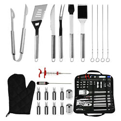 25pcs Grill Tools Set Stainless Bbq Grilling Barbecue Accessories Utensils Kit