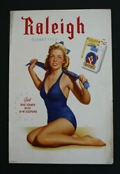 Original 1940s Wwii Raleigh Cigarettes Pinup Advertising Sign - Poster