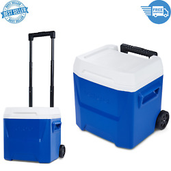 16-quart Laguna Roller Insulation Ice Chest Cooler With Wheels Camping Blue