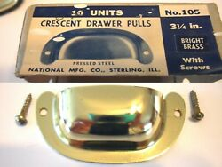 Vintage Nos Brass Plated Drawer Pull Bin Cup Finger Style Antique Cabinet Handle
