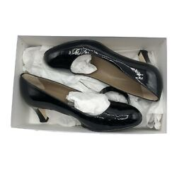 Anyi Lu Womens Tracy Patent Pumps Round Toe Low Heels Comfort Black Shoes 37 7