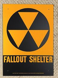 1950and039s Civil Defense Metal Fallout Shelter Sign 10 X 14