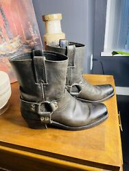 Frye Harness 8r Grey Charcoal Leather 8.5 Women Silver Motorcycle Boots/booties