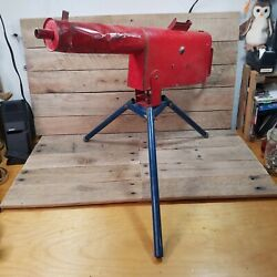 Vintage 1950's Metal Tru-matic Toy Machine Gun On A Tripod Red And Blue Rare