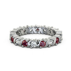 Sparkling 14k White Gold 1.41 Ct Ruby And Diamond Engagement Band Size 4 5 6 7 8 9