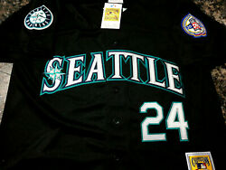 Seattle Mariners 24 Ken Griffey Jr.throwback Jersey New Tag Dual Patches Sewn