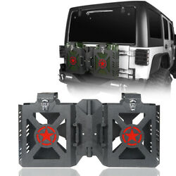 Black Double Jerry Gas Can Holder Tailgate Mount For 2007-2018 Jeep Wrangler Jk