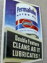 Heavy 2 Lb Permalube Amoco Motor Oil Advertising Porcelain Gas Sign