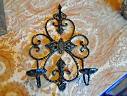 Antique Vintage Style Wrought Iron Wall Sconce Double Candle Holder Gothic Black