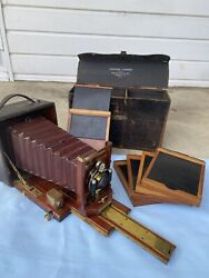 Antique Wood Century Camera With Photo Plate 1800-1900